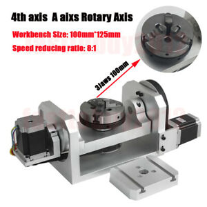 Rotary Axis Table 4th 5th Axis Ratio 8 1 6 1 Cnc Dividing Head 3 Jaw 100mm Chuck