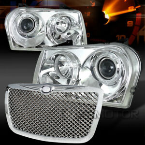 05 10 Chrysler 300 Chrome Projector Headlights mesh Bumper Hood Grille