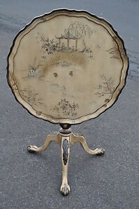 Chinese Chippendale Style Tilt Top Table With Ball Claw Feet