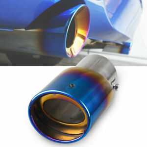Car Exhaust Tail Muffler Tip Pipes Burnt Blue Stainless Steel Universal