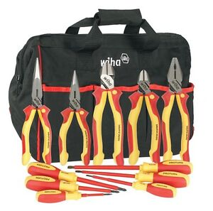 Wiha 32390 11 Piece Insulated Driver Plier Set In Canvas Tool Bag