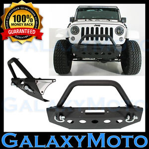 Rock Crawler Pre Runner Hoop Front Bumper Winch Plate For 07 18 Jeep Jk Wrangler