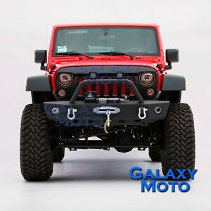 Black Textured Front Bumper W Winch Plate 2xd ring For 07 18 Jeep Jk Wrangler