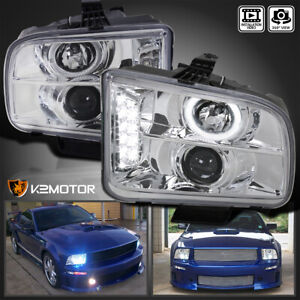 For 2005 2009 Ford Mustang Led Drl Halo Clear Projector Headlights Lamps Pair