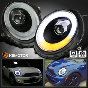For 2007 2012 Mini Cooper Black Led Bar Halo Ring Projector Headlights Lamps