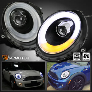 2007 2012 Mini Cooper Black Clear Led Bar Halo Ring Projector Headlights