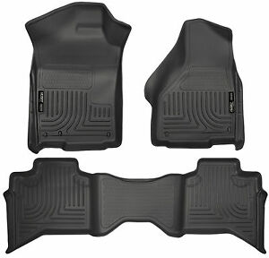 2009 2016 Dodge Ram 1500 Quad Cab Black Husky Liners Weatherbeater Floor Mat Set