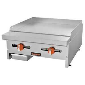 New Sierra Range Griddle 24 w 2 U shaped Burners 23 000 Btu Each 3 4 Plate