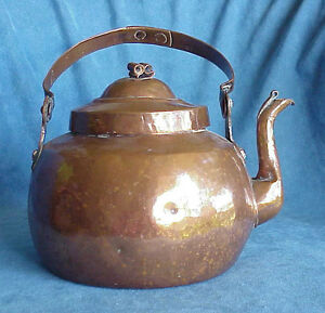 Antique 18th Century Georgian Large Copper Fireplace Riveted Handle Kettle