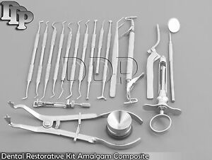 Dental Restorative Kit Amalgam Composite 18 Piece Set Probes Excavator Dn 573