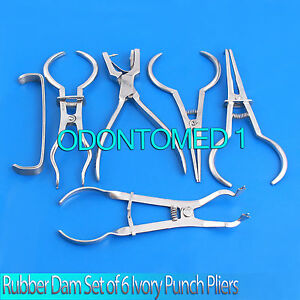 Rubber Dam Set Of 6 Ivory Punch Plier ainsworth brewer stoke Clamp dn 502