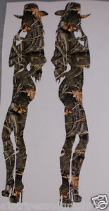 Pair Real Tree M4 Camo Cow Girl Country Silhouette Woman Window Decal Sticker