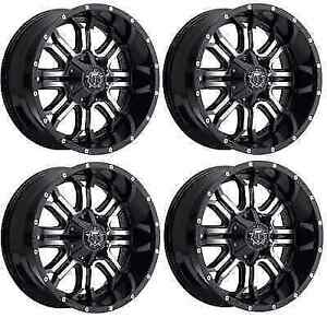 Tis 535mb 7906812 Set Of 4 17x9 Gloss Black W Machined Face 535mb Wheels
