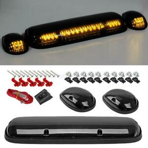 3pc Smoke Cab Roof Running Amber Led Lights For 02 07 Chevy Silverado gmc Sierra
