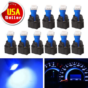 10x Pc74 T5 Instrument Panel Gauge Cluster Blue Led Light Bulb Twist Socket