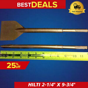 Hilti Sds Plus Chisel Flat 2 1 4 X 9 3 4 And Pointed 9 3 4 Preowned fast Ship