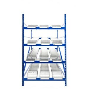 New Unex Gravity Flow Roller Rack With Span Track Starter 96 w X 72 d X 84 h