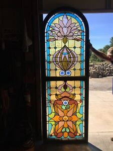 Co 14 Antique Stained Glass Landing Window Many Jewels Victorian Antique