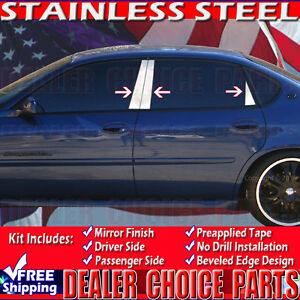 2000 2001 2002 2003 2004 2005 Chevy Impala 6pc Stainless Steel Pillar Posts