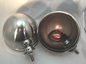 Pair Dietz 7 Stainless Headlight Lamp Buckets Assembly Street Rod Wired Bullet