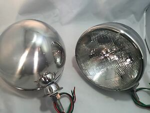 Pair Dietz 7 Stainless Headlight Lamp Buckets Assembly Sealed Beam Halogen
