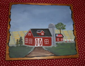 Primitive Sign Patriotic Barn Farm Folk Art Prim