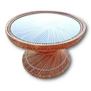 Vintage Woven Rattan Coffee Accent End Side Table Wicker Boho Palm Beach Coastal