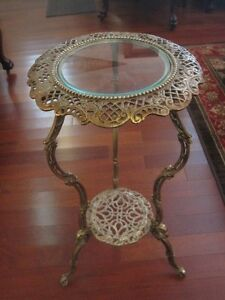 Ornate Vintage Brass 2 Tier Table Glass Top End Smoke Plant Stand