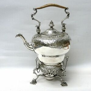 Georgian Style Silver Tea Kettle On Stand By Dj Welby London 1914 Stock Id 8500