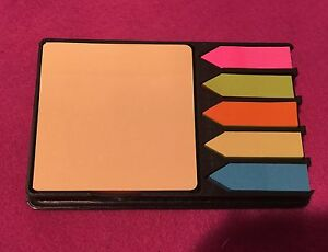 Post It Note Pad With Flags Desk Set Refillable Tray Free Shipping