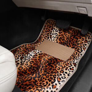 Leopard Print 4 Piece Car Floor Mats Heavy Duty Non Slip Universal Animal