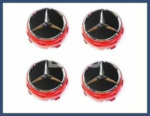 Genuine Mercedes Ember Red Black Center Cap Wheel Hub Cover New Set Of 4