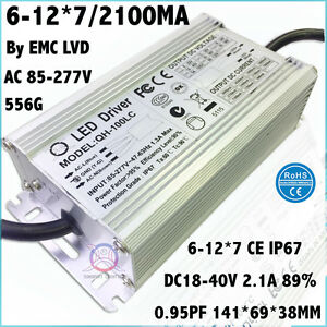 2pcs Ac85 277v 100w By Ce Led Driver 6 12x7 2100ma Dc18 40v Constant Current 92