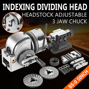 New Bs 0 5 Indexing Dividing Spiral Head 3 jaw Chuck Tailstock Cnc Milling Mach
