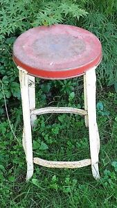 Vintage Metal Four Leg Stool Garage Work Shop Steel Milk Milking Red Distressed