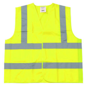 Yellow Polyester Fabric Safety Vest Xl Class Ii Silver Reflective Tape 25 Pieces