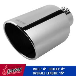 Diesel Stainless Steel Exhaust Tip Pipe Bolt On 4 Inlet 8 Outlet 15 Long