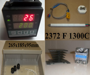 Pid Temperature Controller Kiln Probe Ssr Relay 40a Hs Abs Box Pottery Glass F C