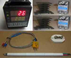 Pid Temperature Controller Kiln Probe 2x40a Ssr Relay Paragon Pottery Glass 220v