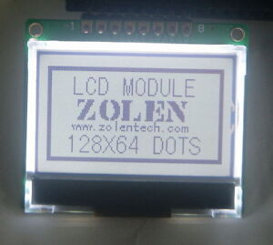 12864 128x64 Serial Spi Graphic Cog White Lcd Display Module Lcm W St7565p 5v