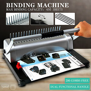 Adjustable 450 Sheet 21 Hole Paper Punch Binding Binder Machine W 200 Free Combs