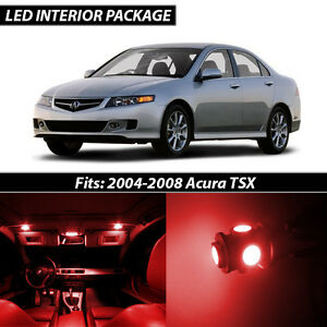 2004 2008 Acura Tsx Red Interior Led Lights Package Kit