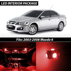 2003 2008 Mazda 6 Red Interior Led Lights Package Kit Mazdaspeed 6