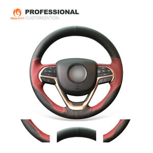 Black Wine Red Pu Leather Steering Wheel Cover For Jeep Cherokee Grand Cherokee