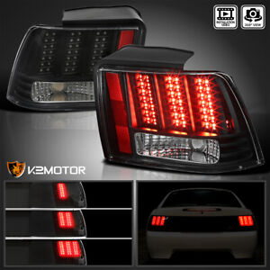 Black Fits 1999 2004 Ford Mustang Tail Lights Sequential Led Signal Brake Lamps