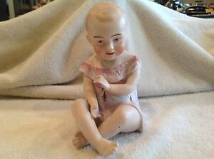 Estate Antique Vtg Germany Bisque Piano Baby 6 5 Different Hair Pink Gown Euc
