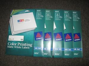 Lot Of 5 X New Avery 8252 Inkjet Color Printing Matte White Labels 1 1 3 X 4