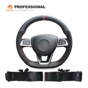 Leather Suede Steering Wheel Cover For Mercedes Benz C200 C300 B250 B260 A200