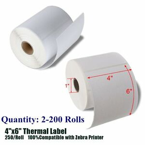 4x6 Direct Thermal Shipping Postage Labels 250 roll For Zebra Eltron 2844 Zp450