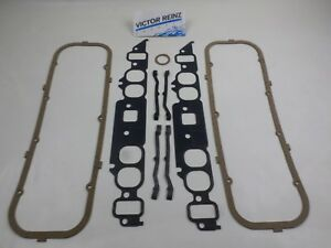 Victor Intake Manifold Valve Cover Gaskets For Bbc Chevy 366 396 427 454 Oval